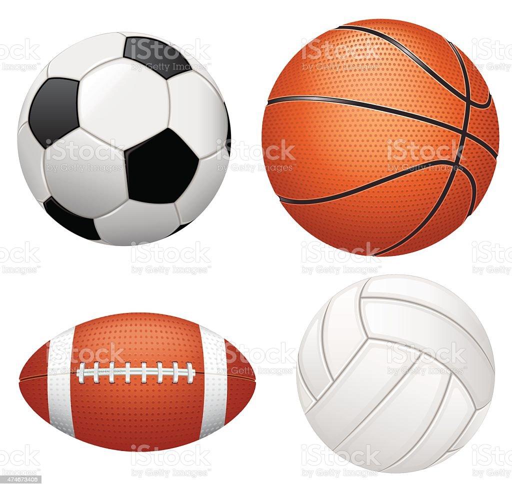 Sport balls on white background vector art illustration
