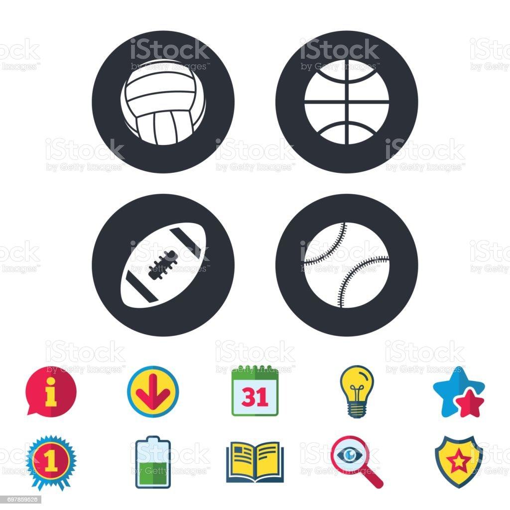 Sport balls icons. Volleyball, Basketball, Baseball and American...
