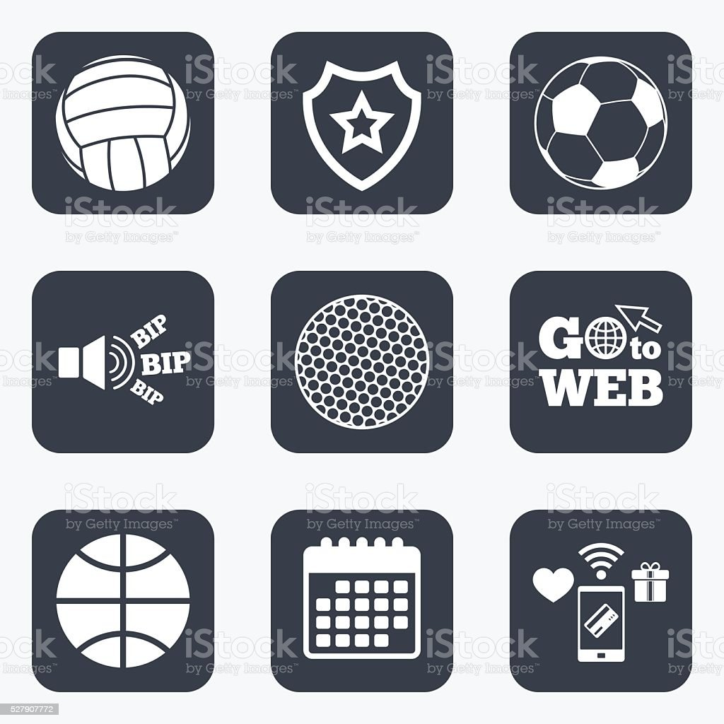 Mobile payments, wifi and calendar icons. Sport balls icons....