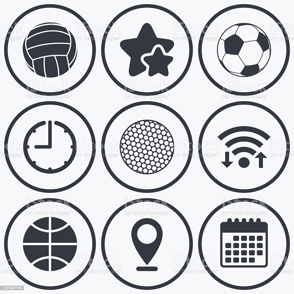 Clock, wifi and stars icons. Sport balls icons. Volleyball,...