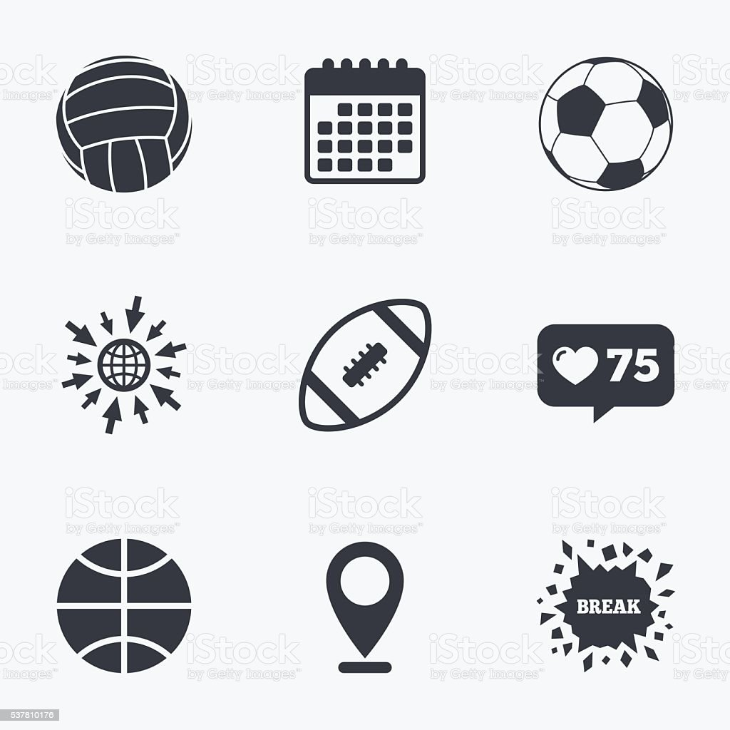 Calendar, like counter and go to web icons. Sport balls icons....