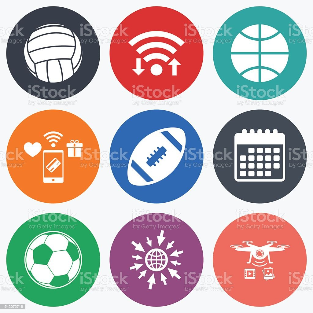Wifi, mobile payments and drones icons. Sport balls icons....