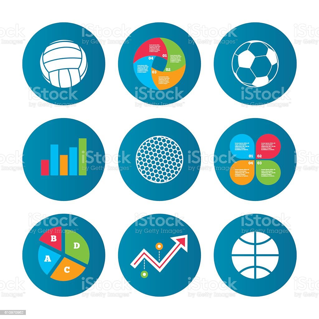 Business pie chart. Growth curve. Presentation buttons. Sport balls...