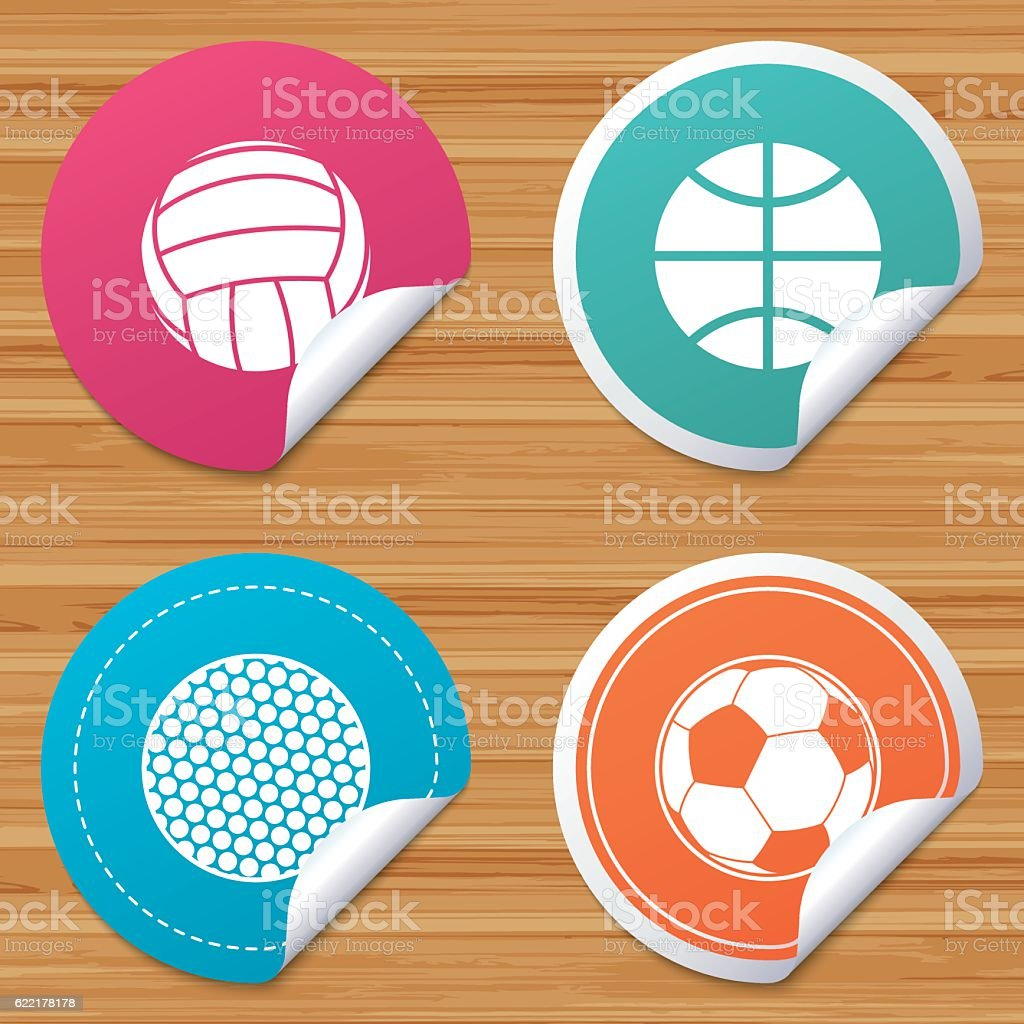 Round stickers or website banners. Sport balls icons. Volleyball,...
