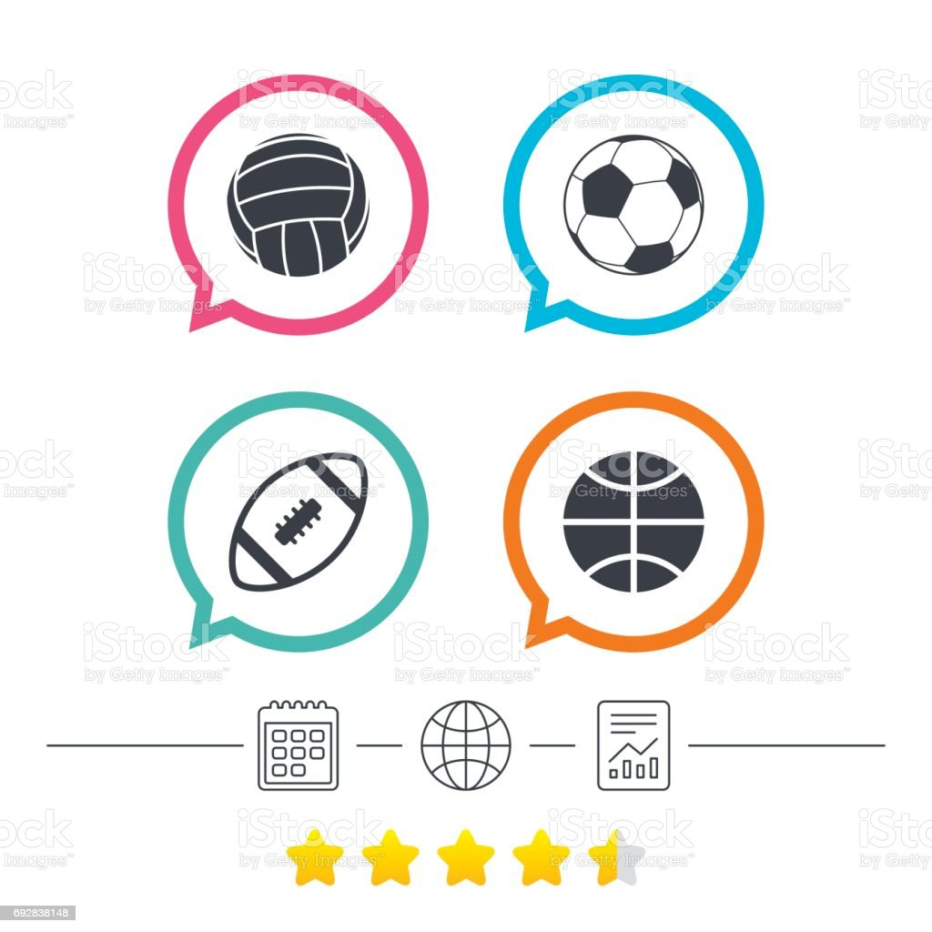 Sport balls icons. Volleyball, Basketball, Soccer and American...