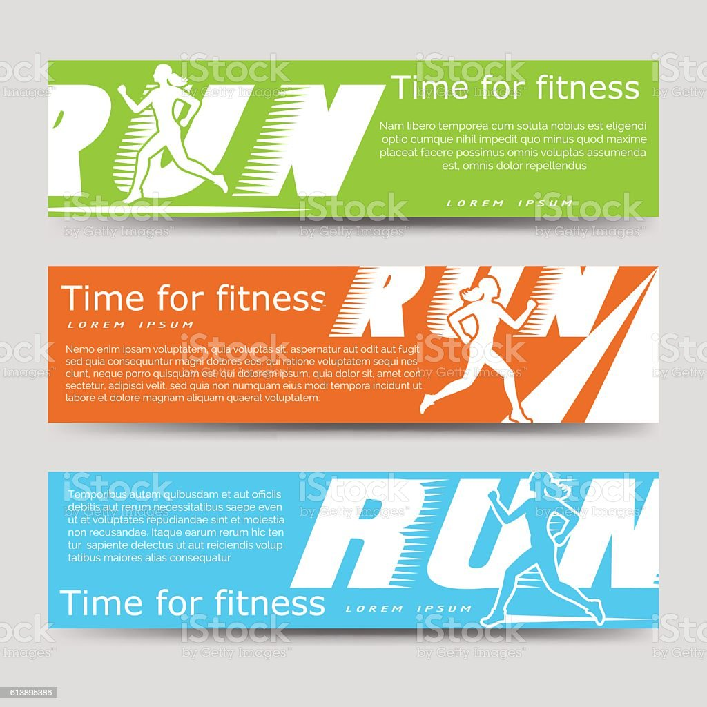 Sport banners template with running woman. Time for fitness banners....