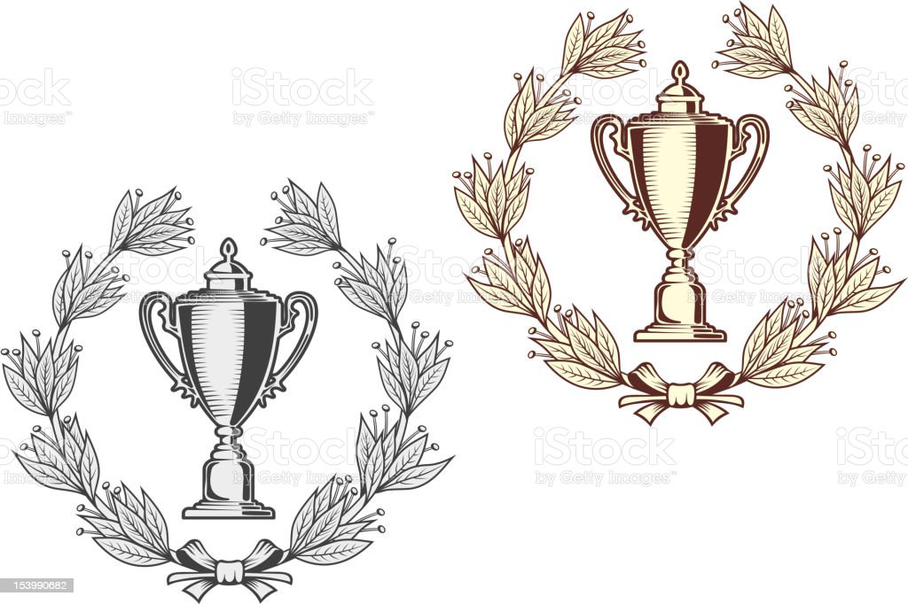 Sport bowl with laurel wreath royalty-free stock vector art