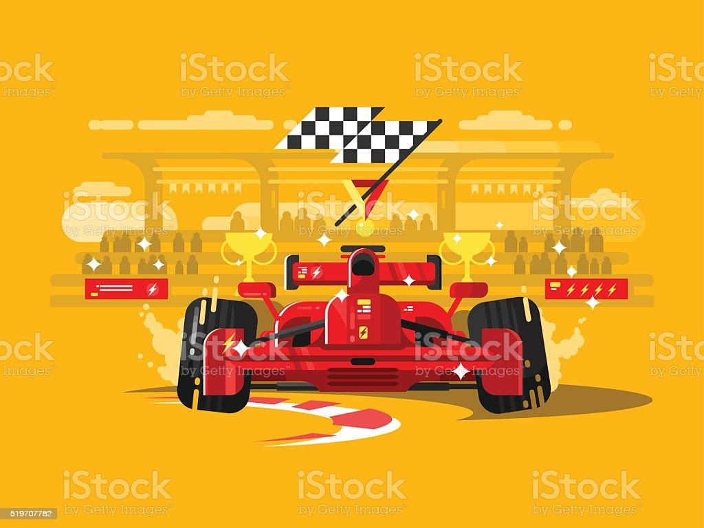 Sport car formula one vector art illustration