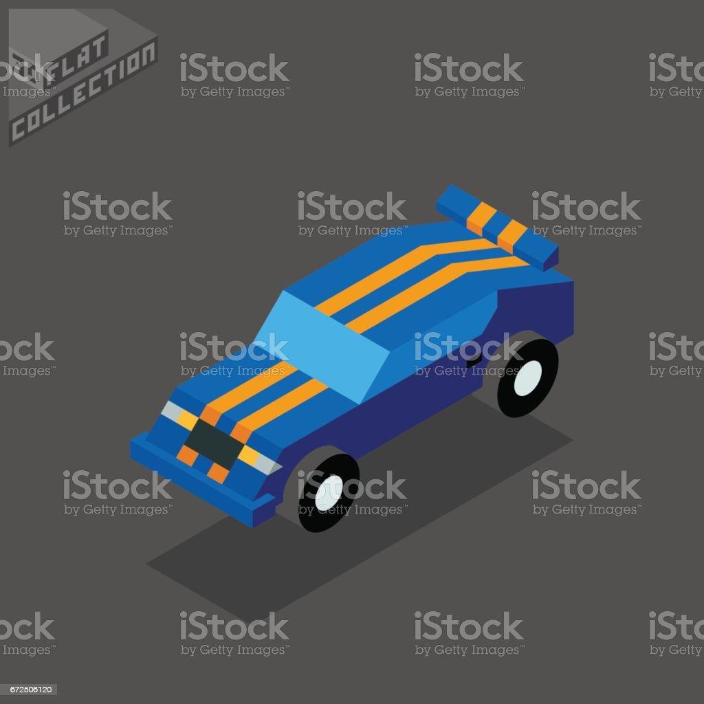 Sport Car Icon. 3D Isometric Low Poly Flat Design. vector art illustration