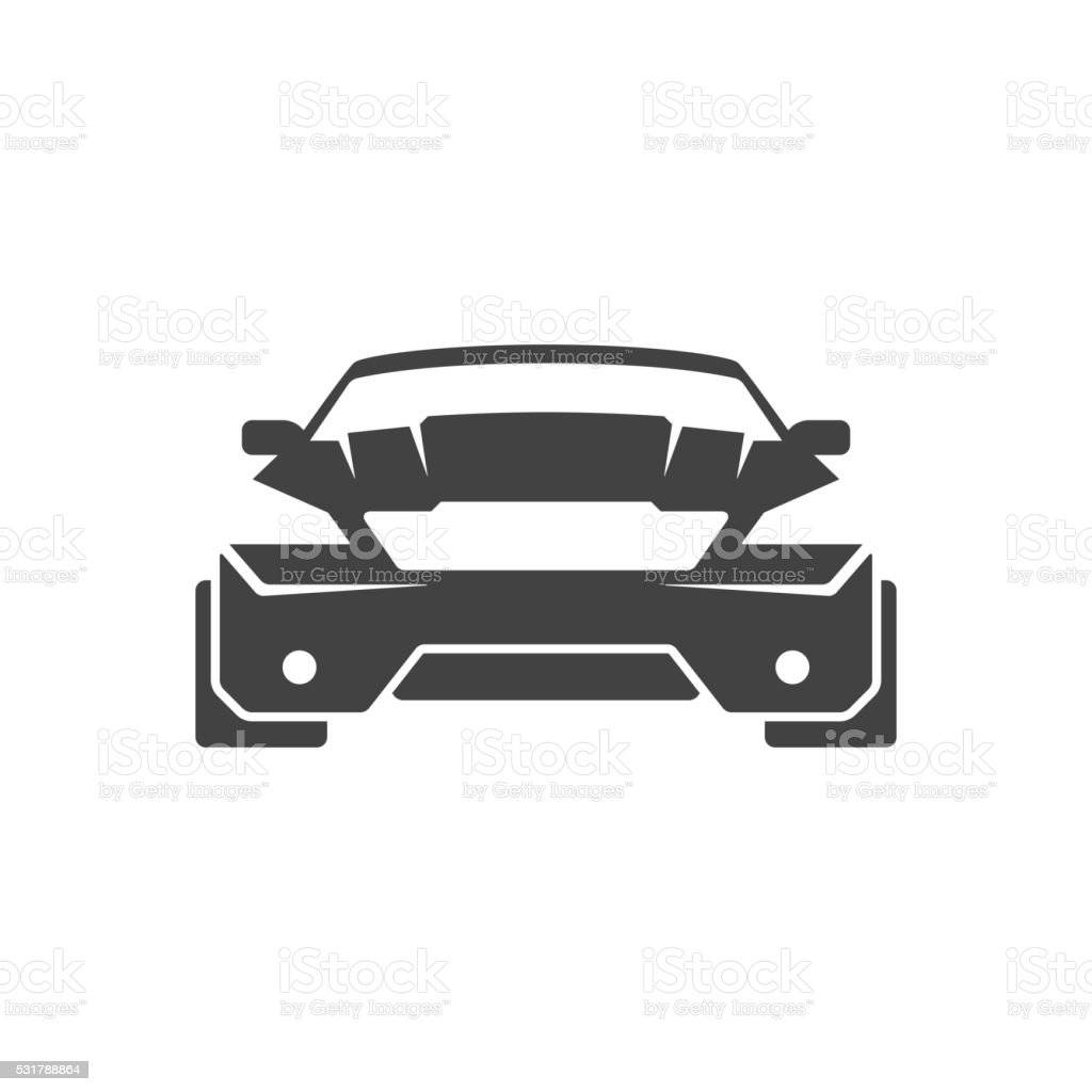 Sport Car Isolated on white background vector icon in retro vector art illustration