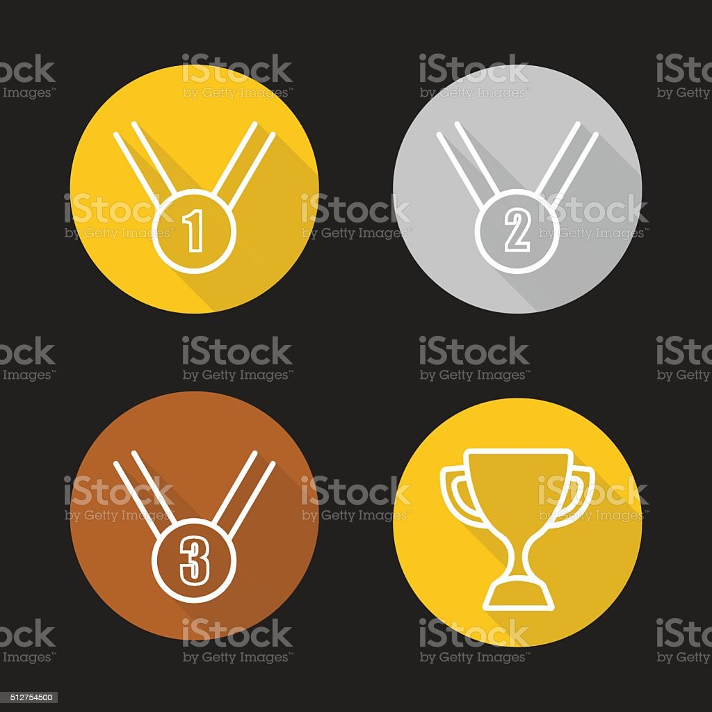 Sport competition awards icons vector art illustration