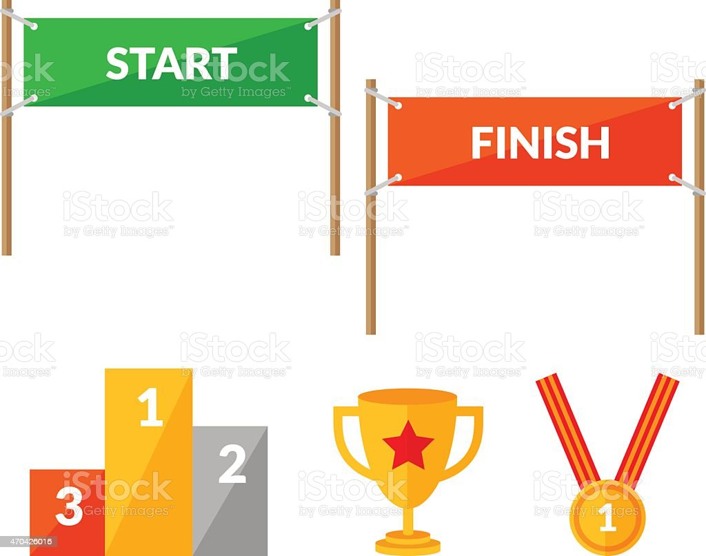 Sport competition flat icon set with Start Finish vector art illustration