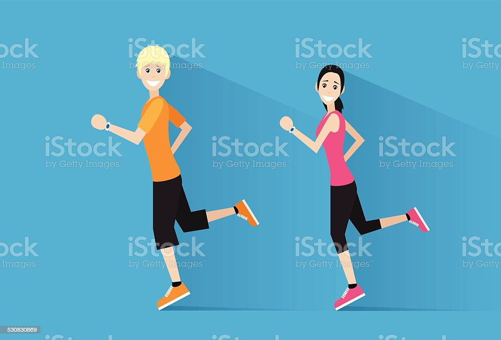 sport couple man and woman run with fitness tracker vector art illustration