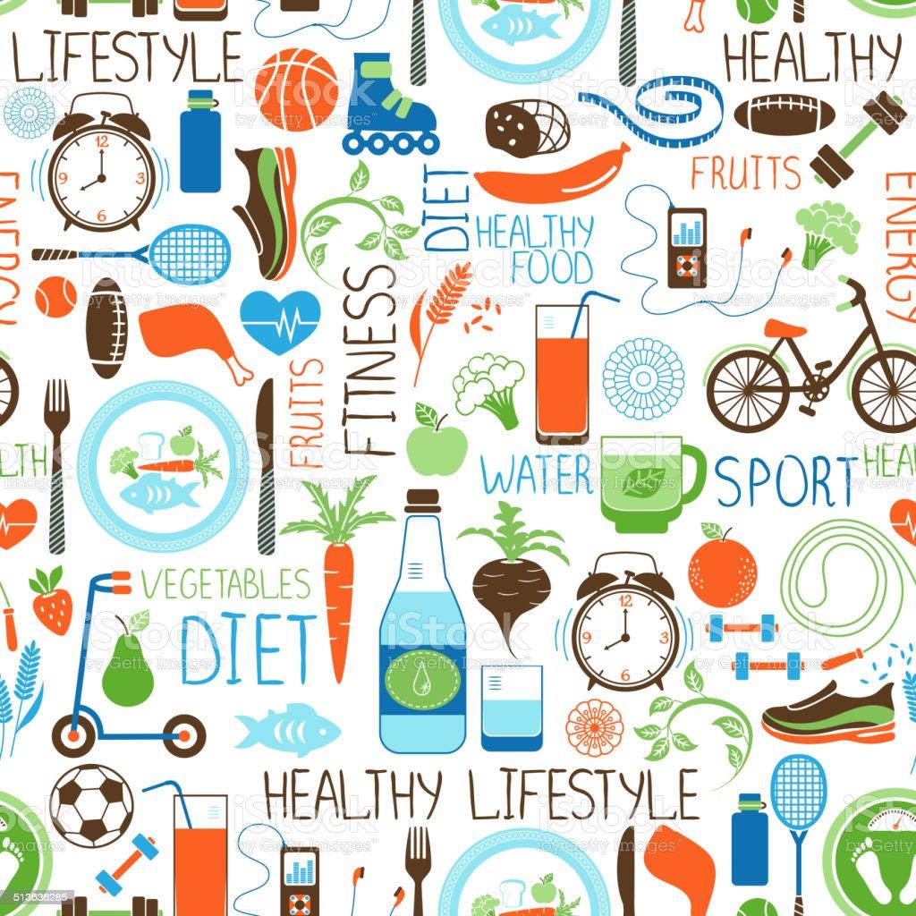 Sport, Diet and Fitness pattern vector art illustration