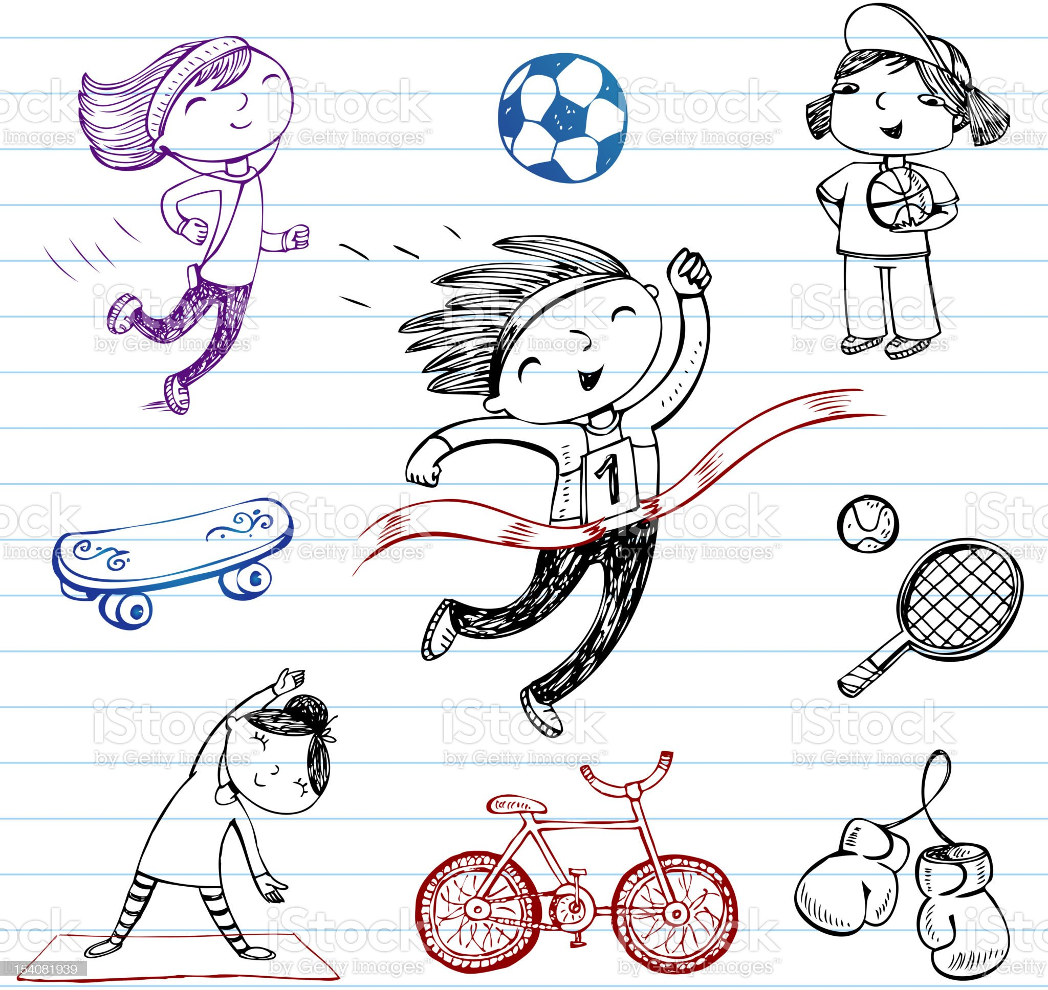 Sport doodle set royalty-free stock vector art