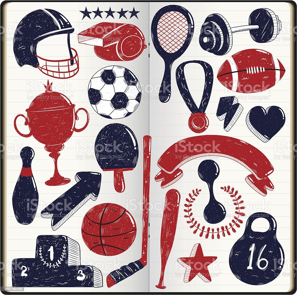 sport doodles royalty-free stock vector art