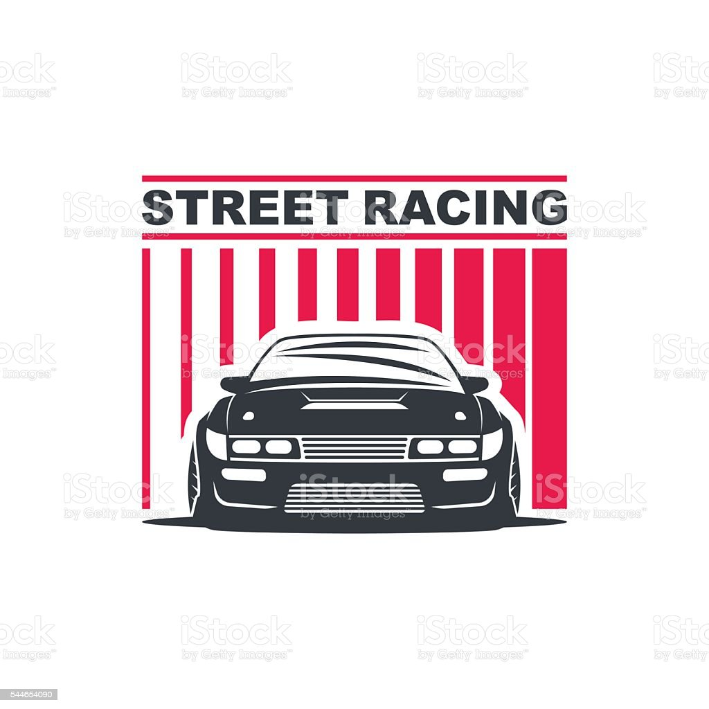 sport drift car vector art illustration