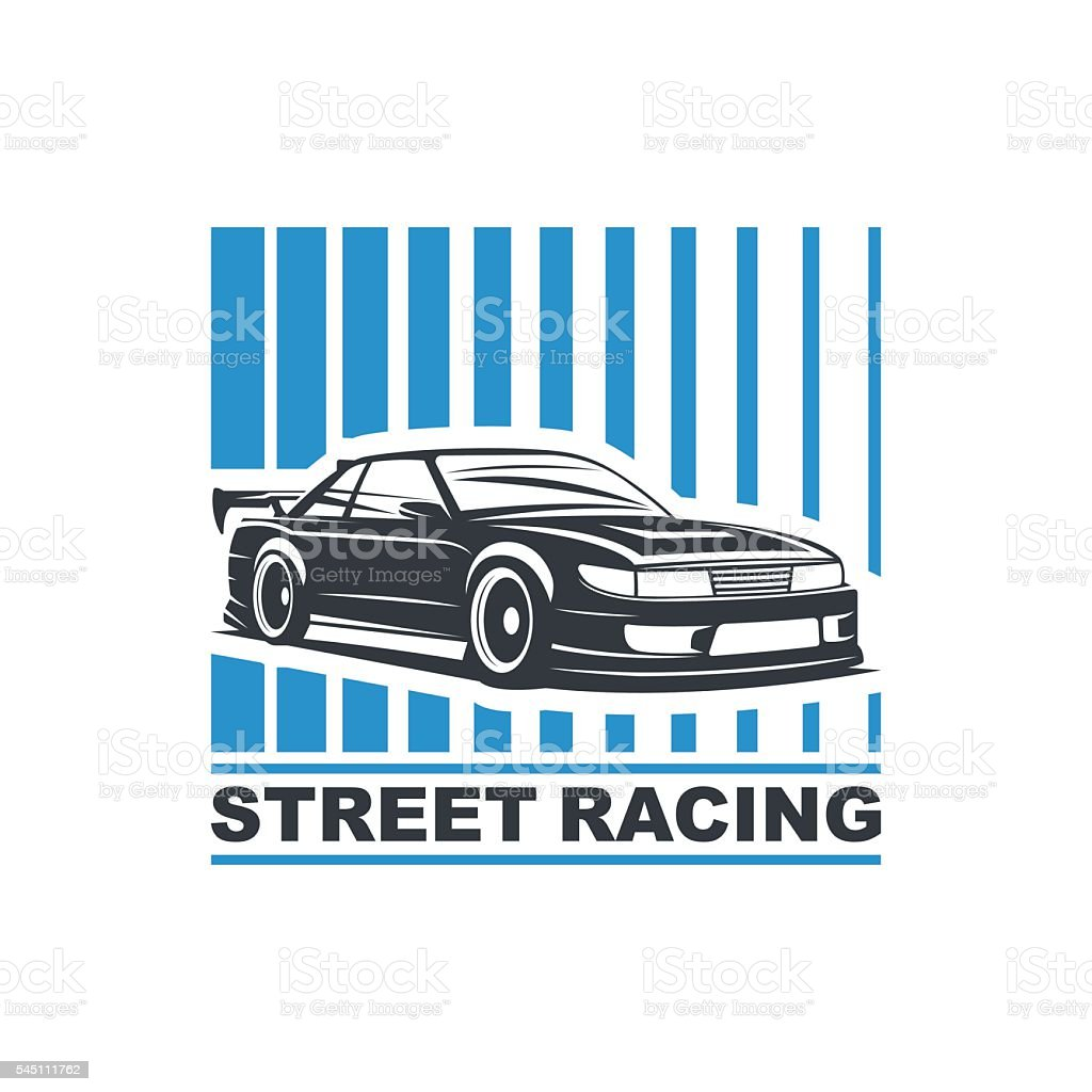 sport drift car2 vector art illustration