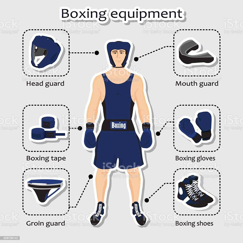 Sport equipment for boxing martial arts with sportsman vector art illustration