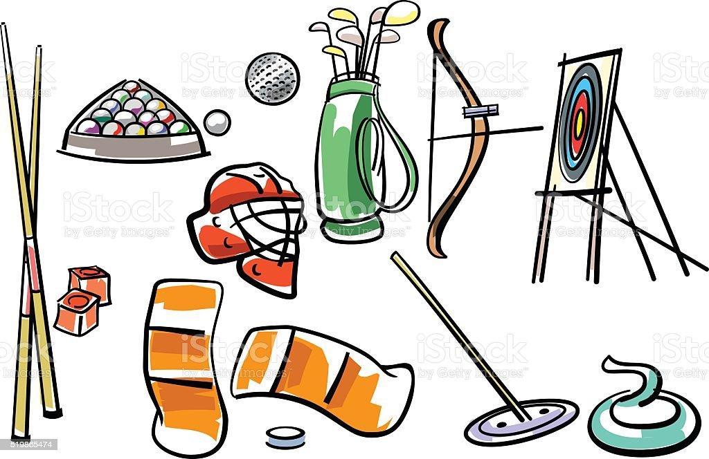 Sport equipment set vector art illustration