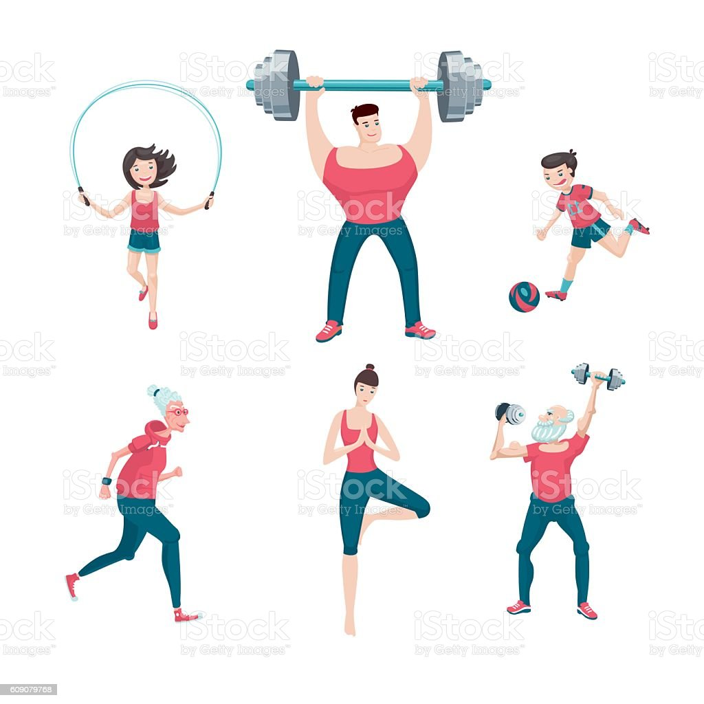 Sport family. Isolated on white icon set with people workout vector art illustration