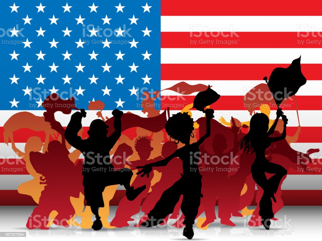 USA Sport Fan Crowd with Flag vector art illustration