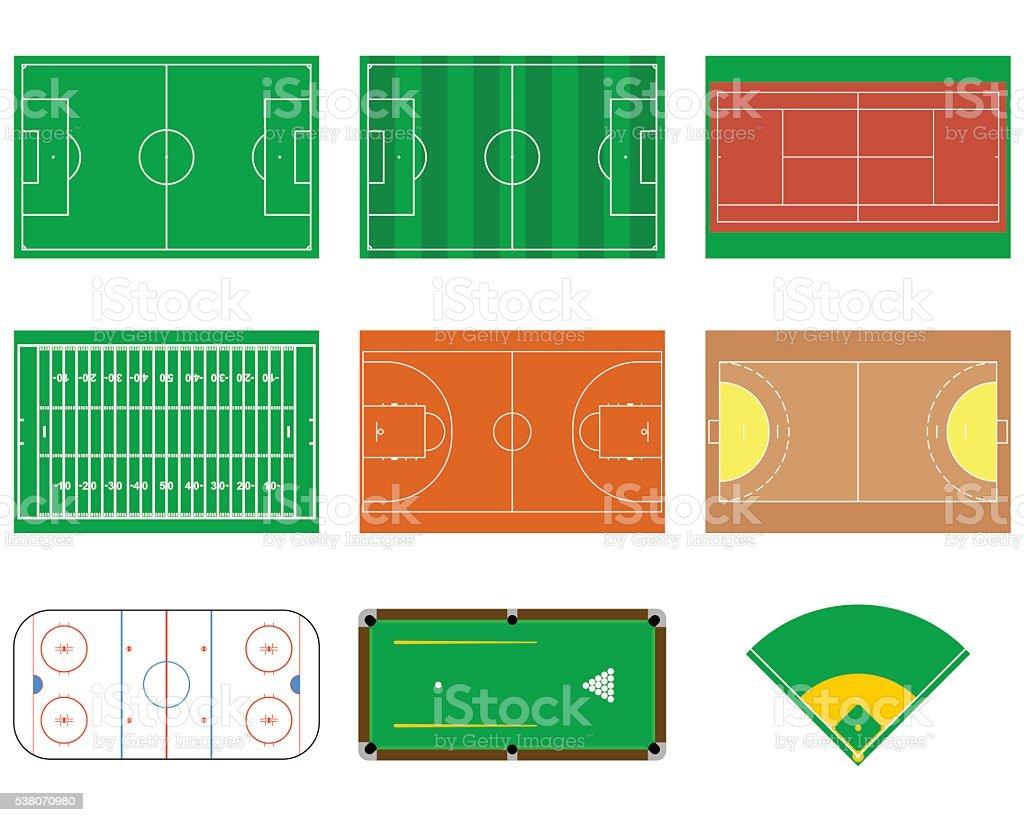 Sport fields. vector art illustration