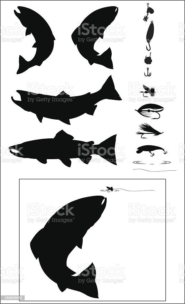 Sport Fishing Silhouette set vector art illustration