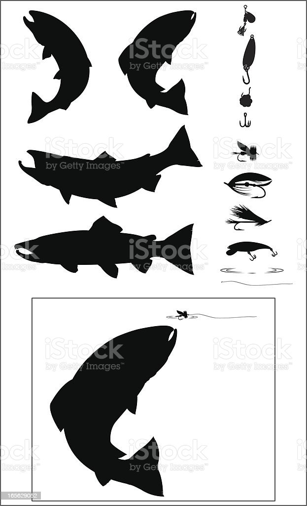 Sport Fishing Silhouette set vector art illustration