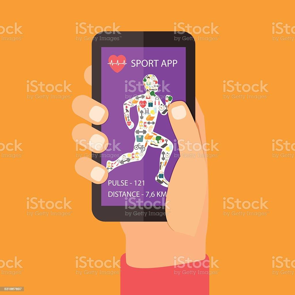 Sport fitness app concept on touchscreen vector art illustration