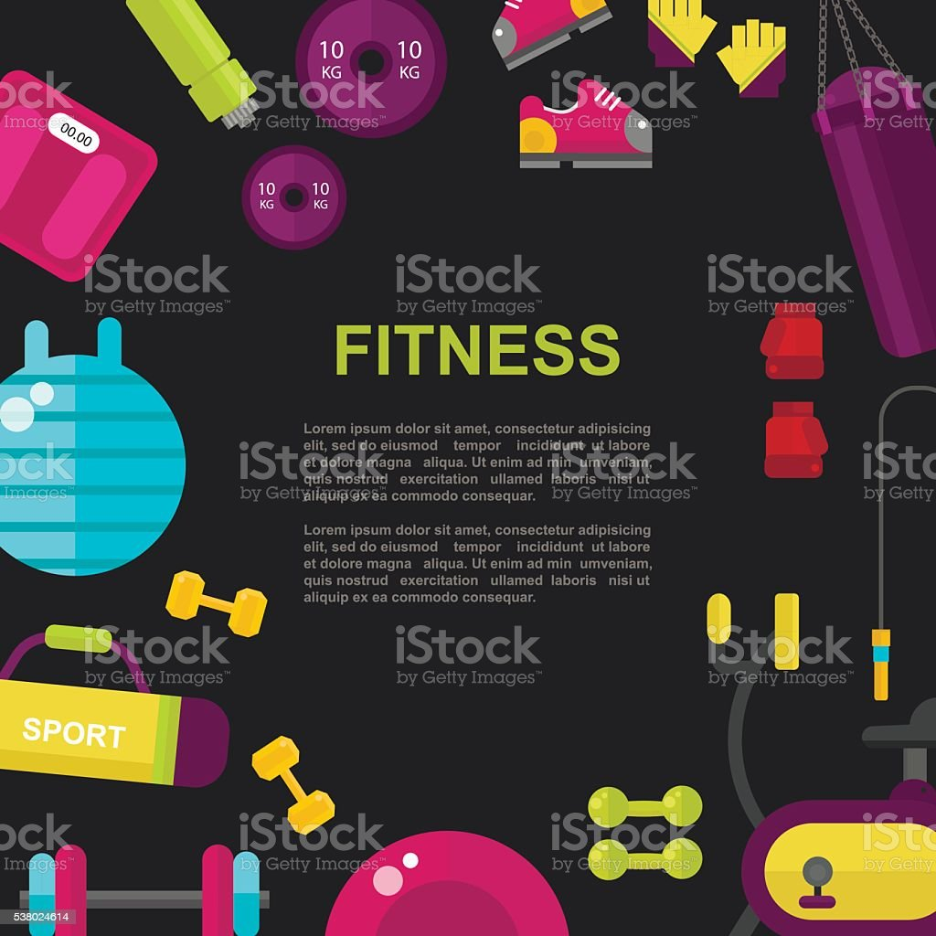 Sport Fitness flat vector background vector art illustration