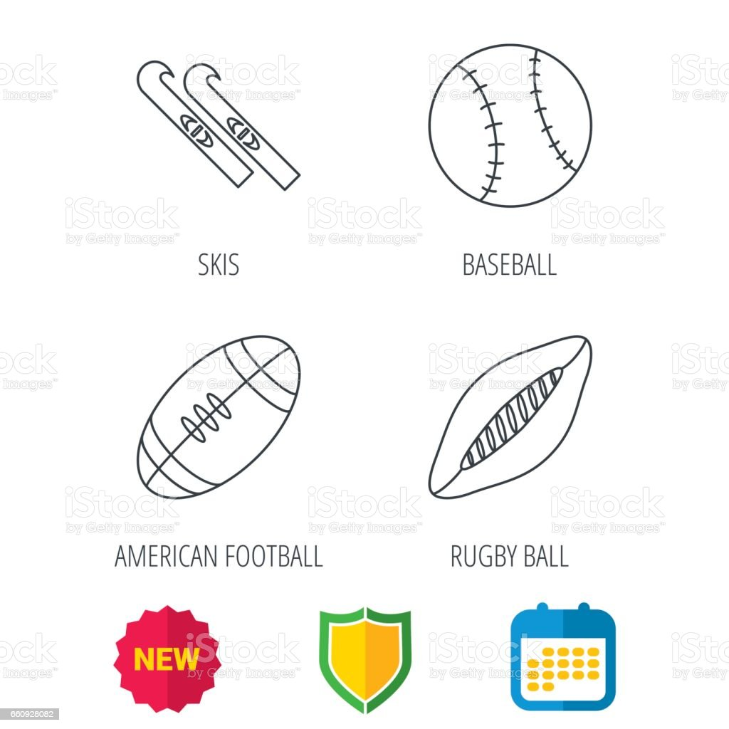 Sport fitness, rugby ball and baseball icons. American footbal, skis...