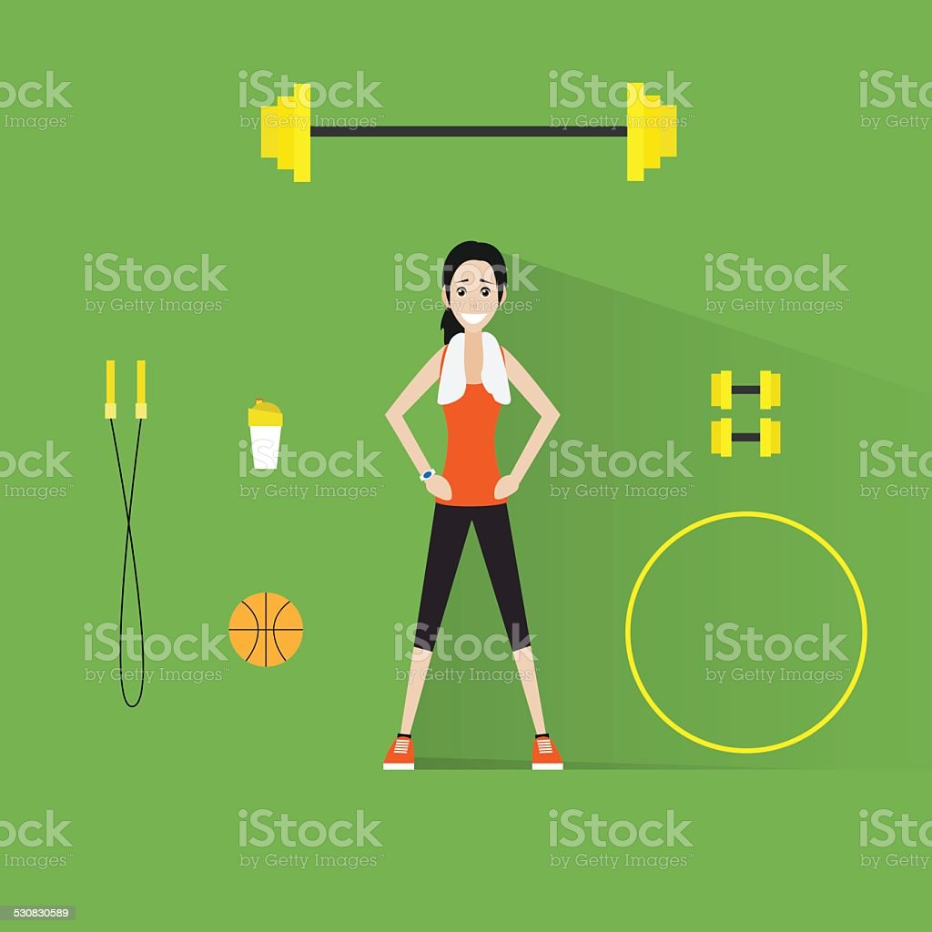sport fitness woman exercise workout girl flat icon vector art illustration