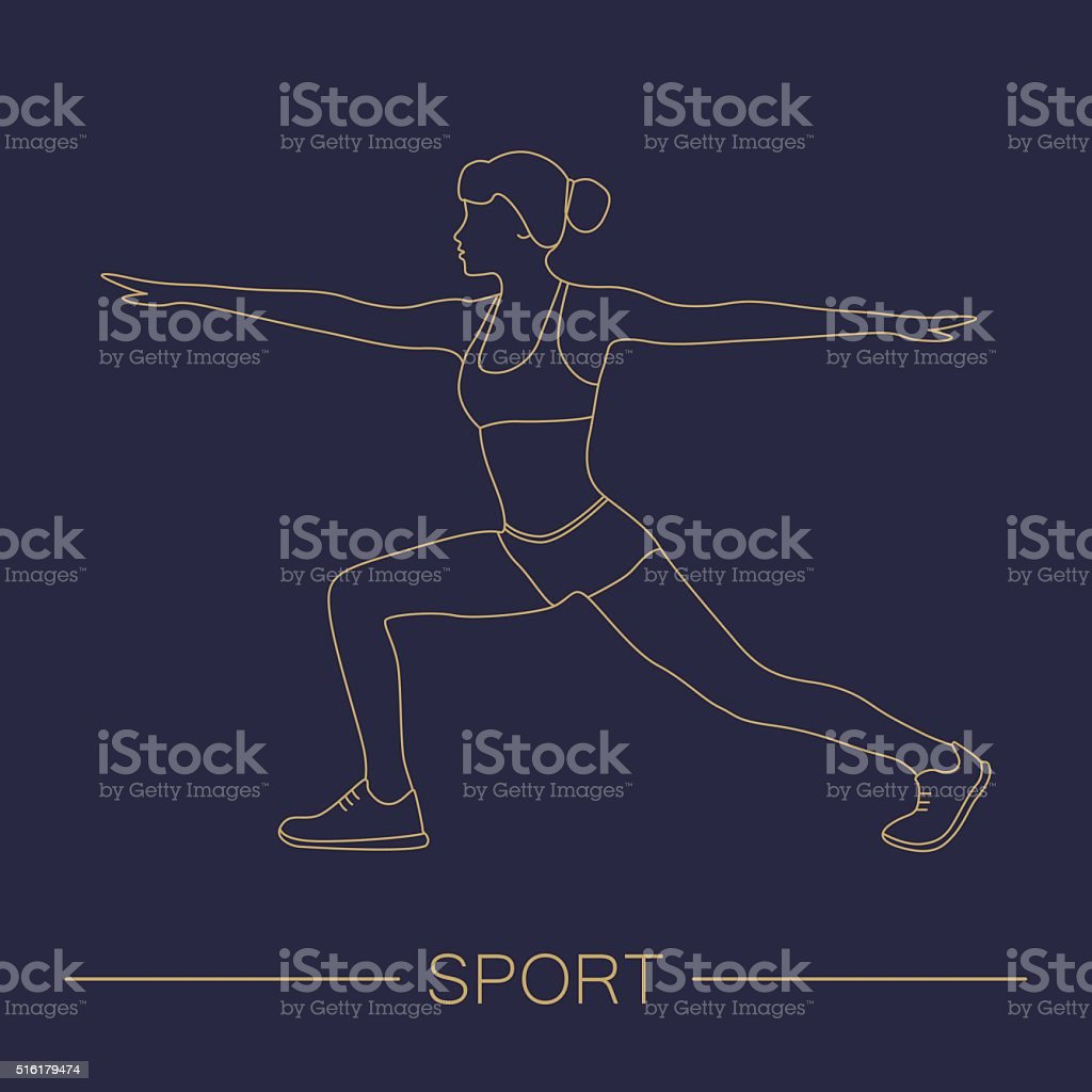 Sport fitness woman exercise workout silhouettes. vector art illustration