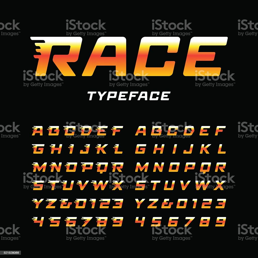 Sport font. Vector alphabet with latin letters and numbers vector art illustration