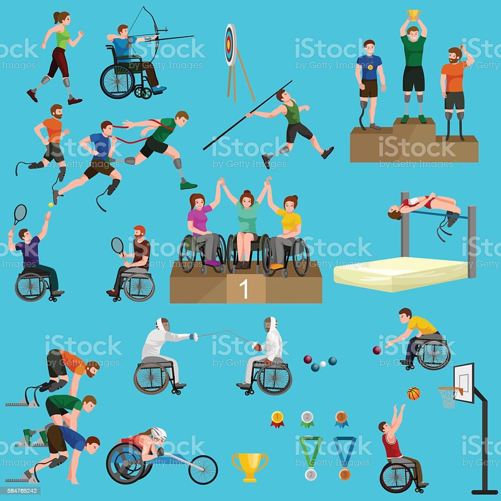 sport for people with prosthesis, physical activity and competition  invalid vector art illustration
