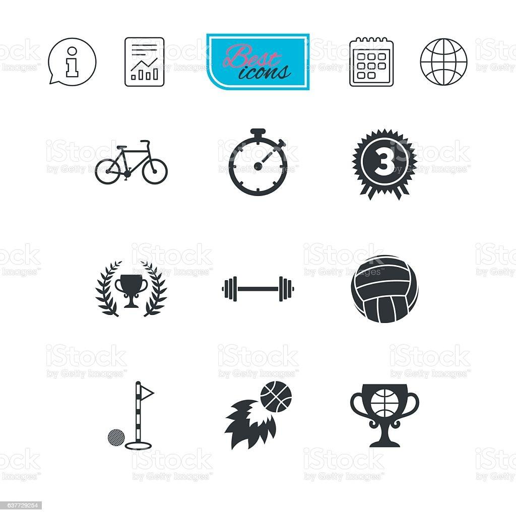 Sport games, fitness icon. Bike, basketball. vector art illustration