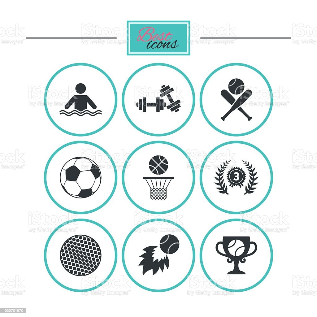 Sport games, fitness icon. Football, basketball. vector art illustration