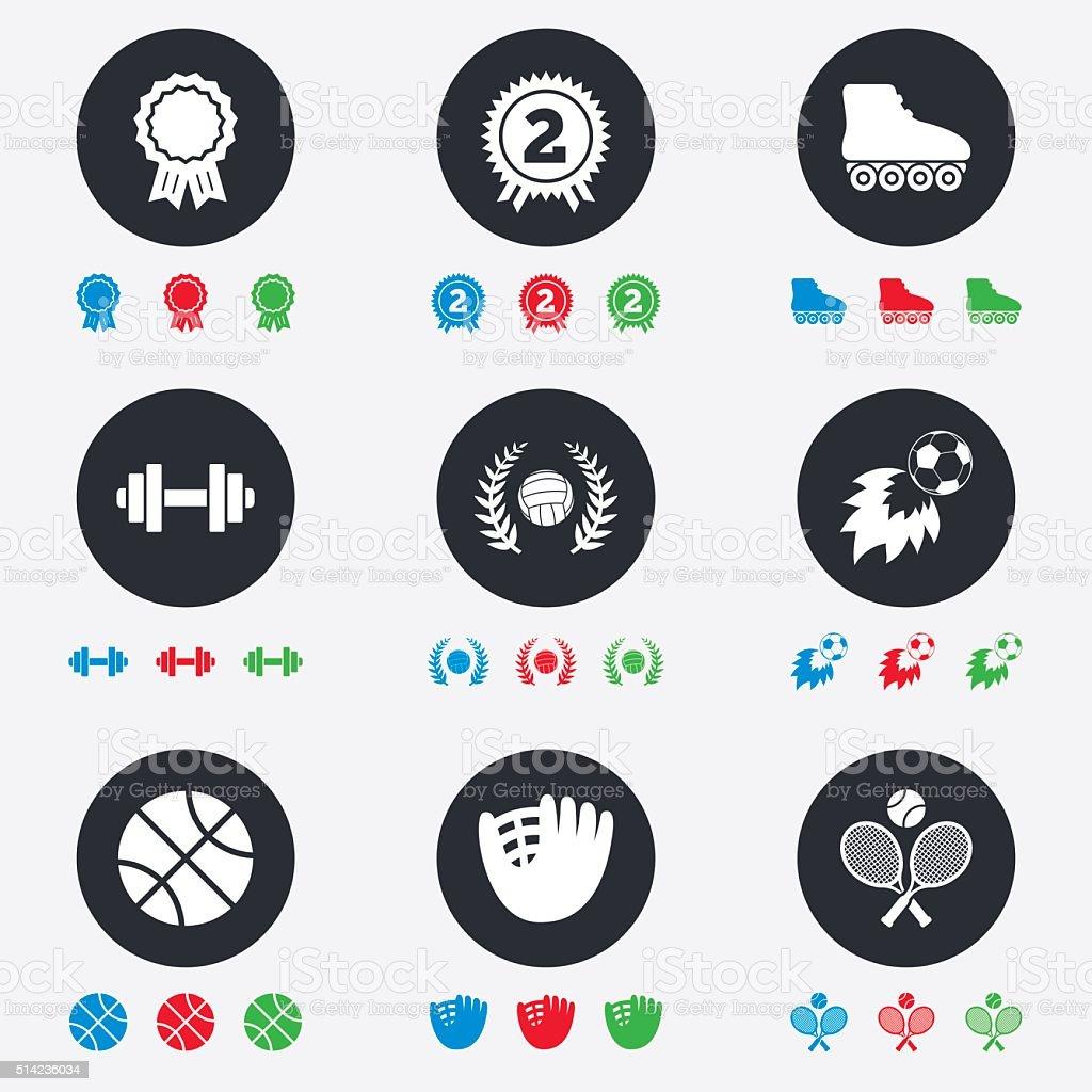 Sport games, fitness icon. Football, volleyball. vector art illustration