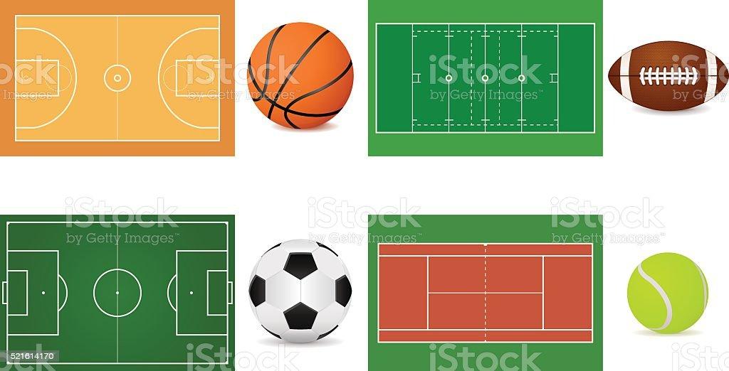 Sport grounds for soccer, football, basketball and tennis vector art illustration