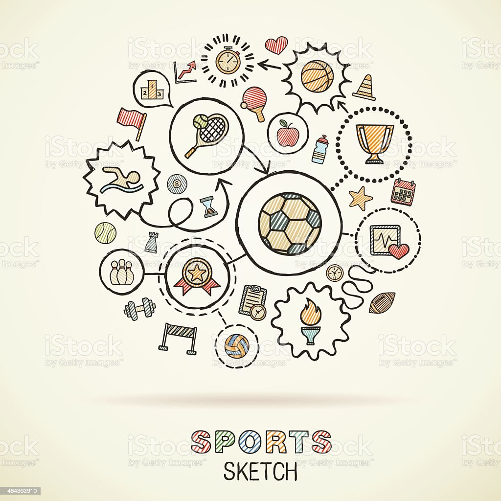 Sport hand draw connected sketch icons. Vector doodle infographic illustration vector art illustration