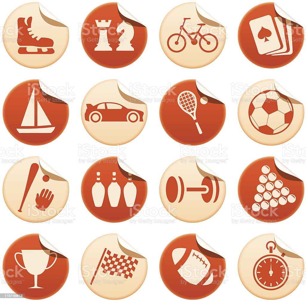 Sport & hobby stickers royalty-free stock vector art