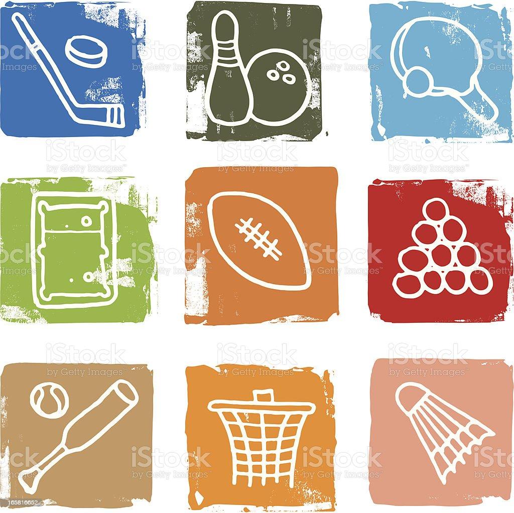 Sport icon blocks vector art illustration