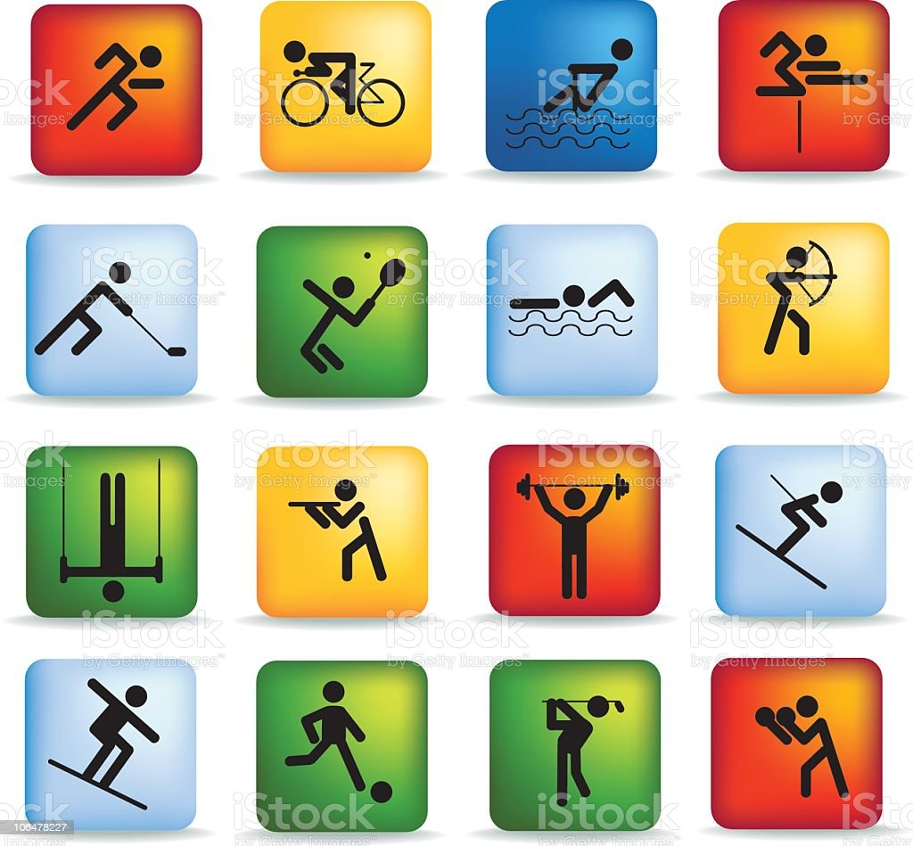 sport icon button set royalty-free stock vector art
