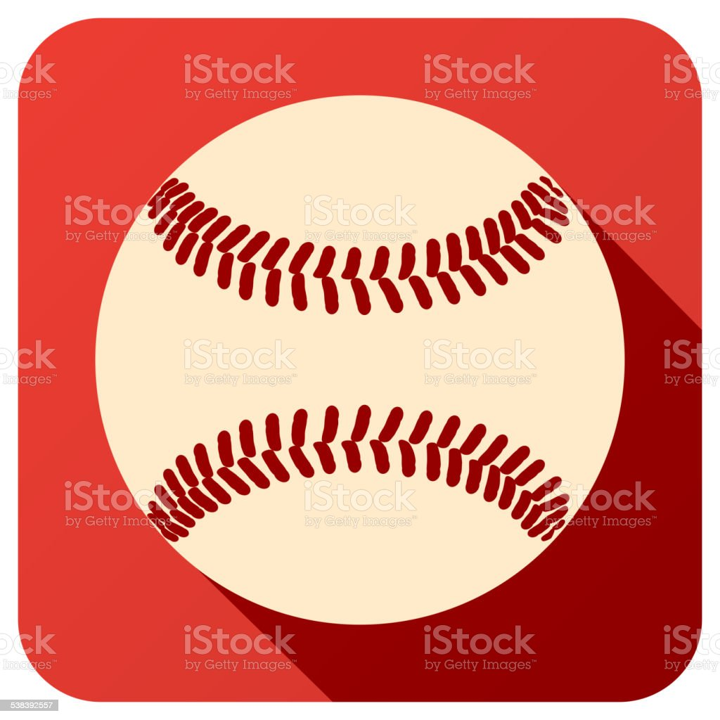 Sport icon with baseball ball in flat style. Vector illustration...