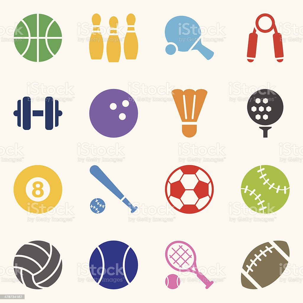 Sport Icons - Background vector art illustration