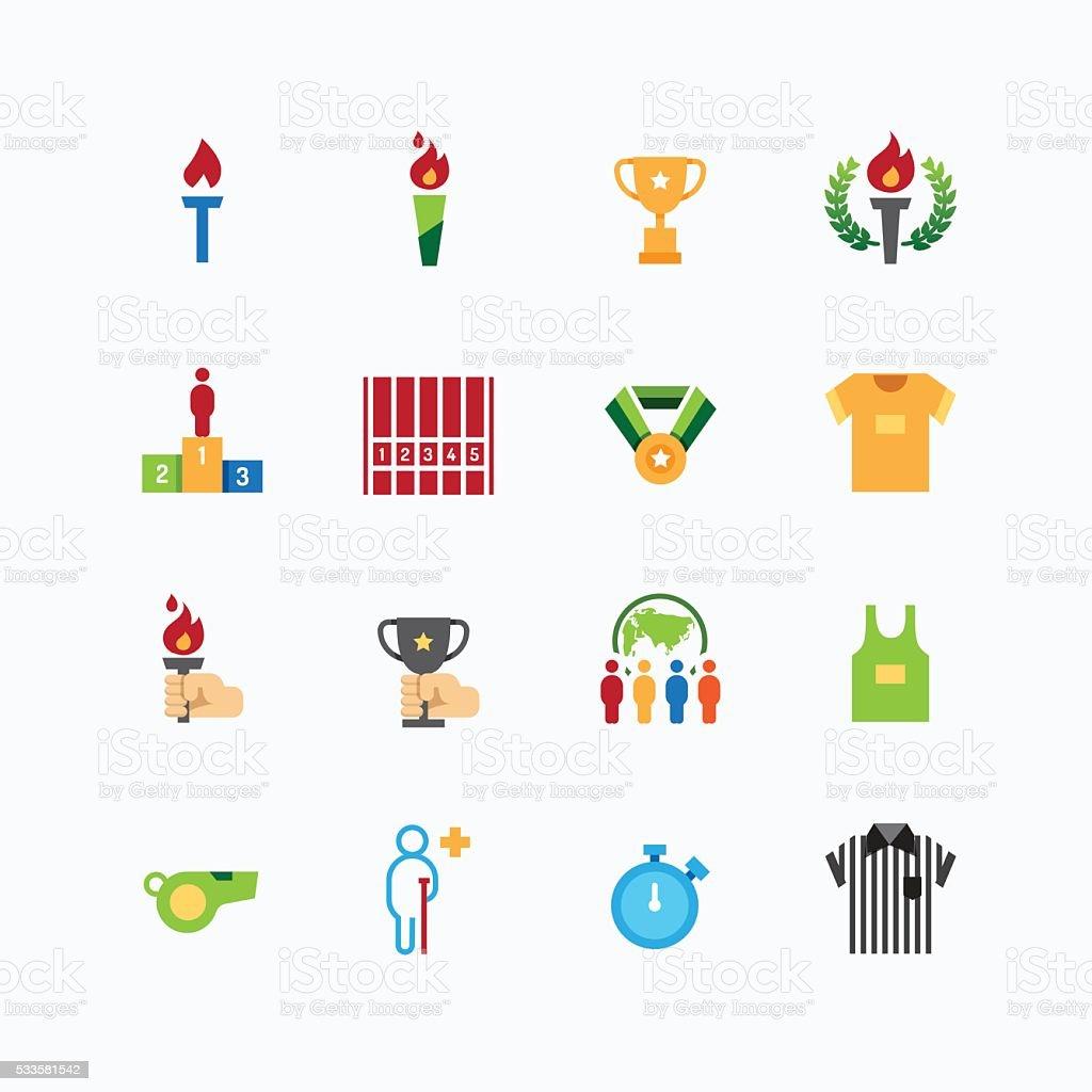 sport icons color flat line design vector vector art illustration