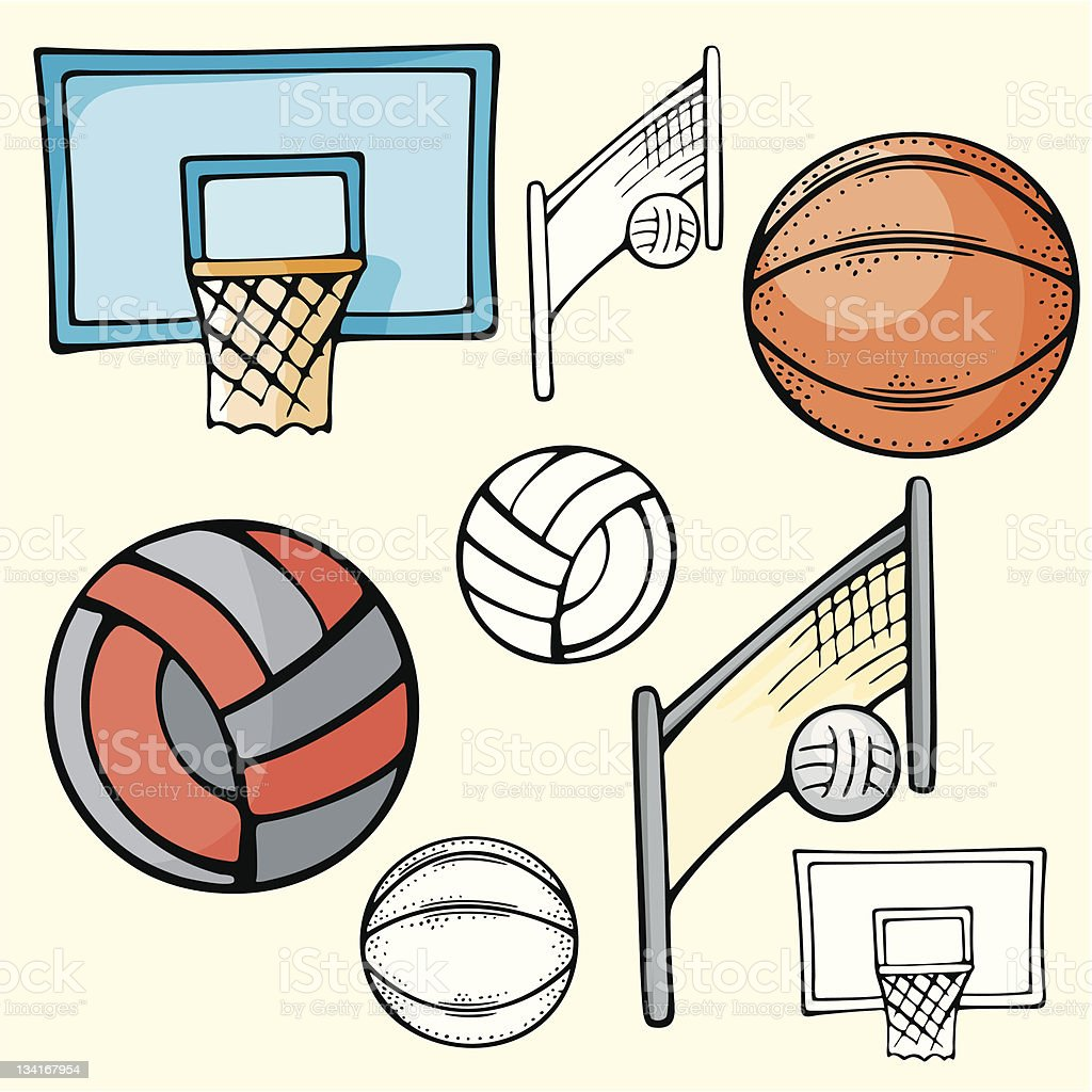 Sport Icons III: Basketball & Volleyball (Vector) royalty-free stock vector art