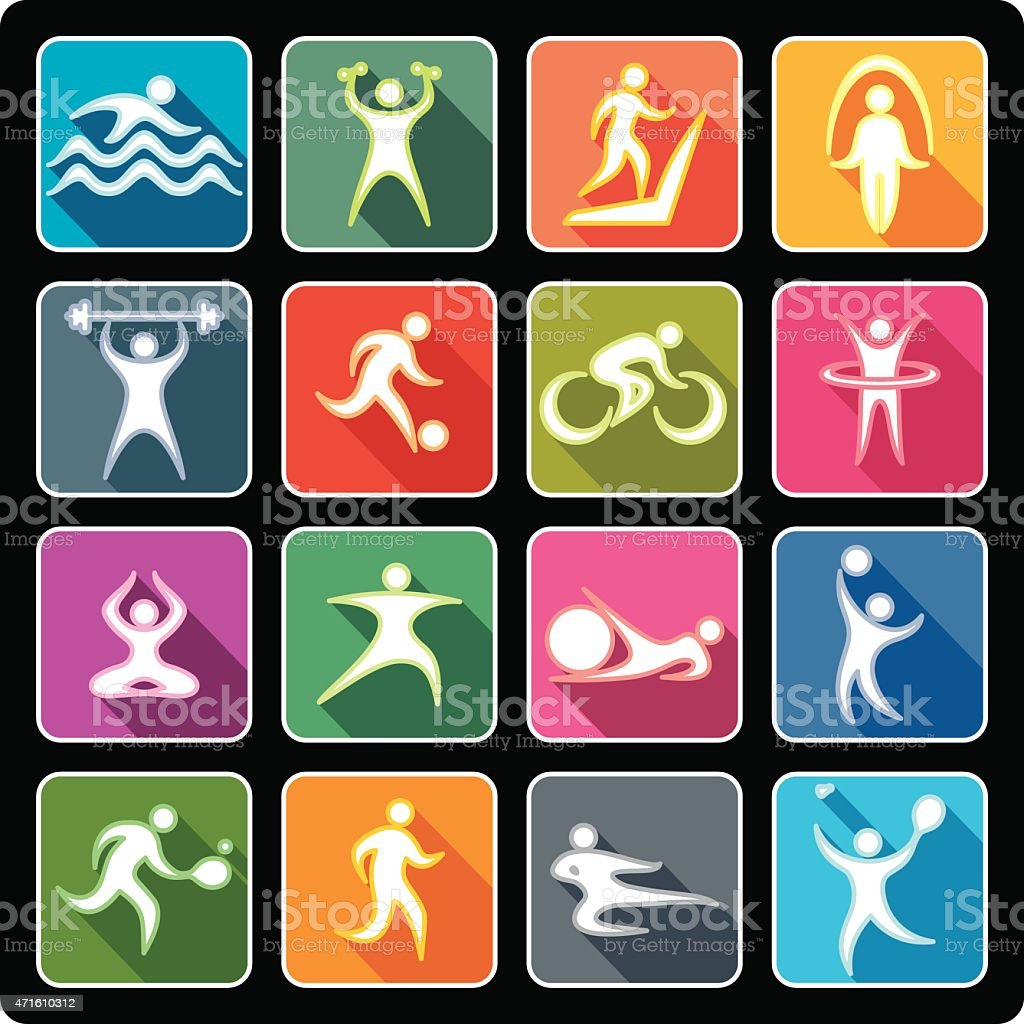 Sport icons in flat style vector art illustration