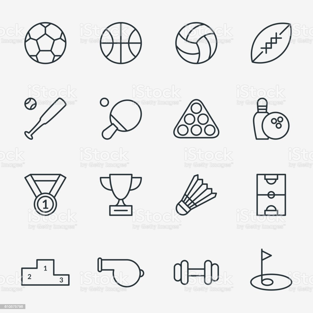 Sport icons in thin line style vector art illustration